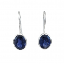 Iolite silver oval hanging earrings