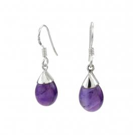 Purple amethyst drop silver earrings