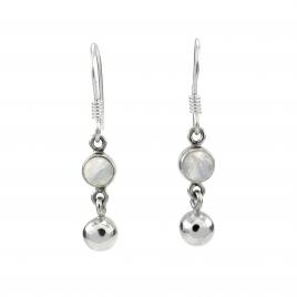 Rainbow moonstone ball silver hanging earring