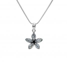 Cubic zirconia silver flower pendant