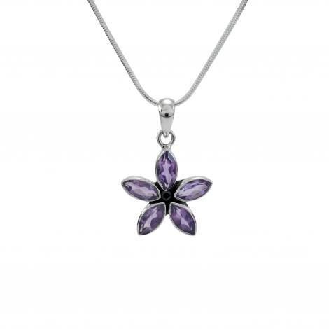 Cut amethyst silver flower pendant