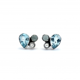 Blue topaz, aquamarine and moonstone silver stud earrings