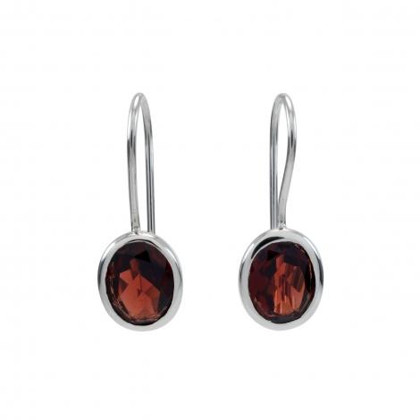 Cut garnet silver oval hanging earrings