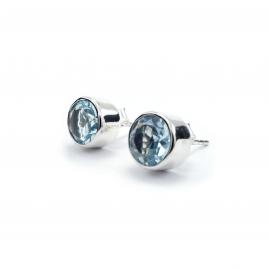 Cut blue topaz round silver stud
