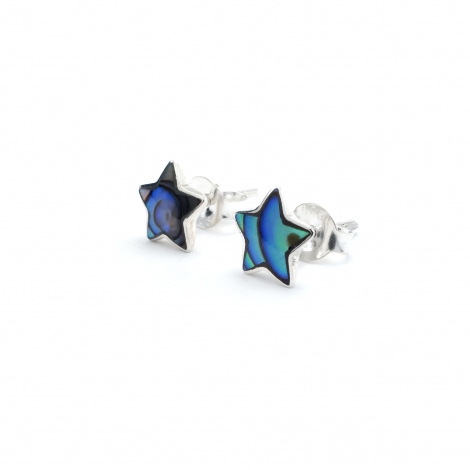 Silver star stud with abalone shell