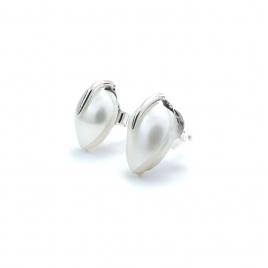 Pearl teardrop silver stud