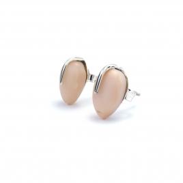 Pink opal teardrop silver stud