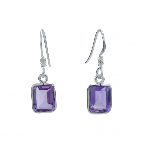 Rectangle cut amethyst silver hanging earring
