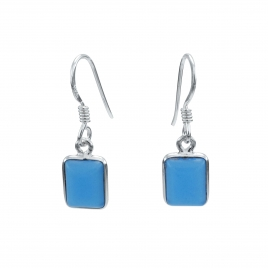 Rectangle blue chalcedony silver hanging earring