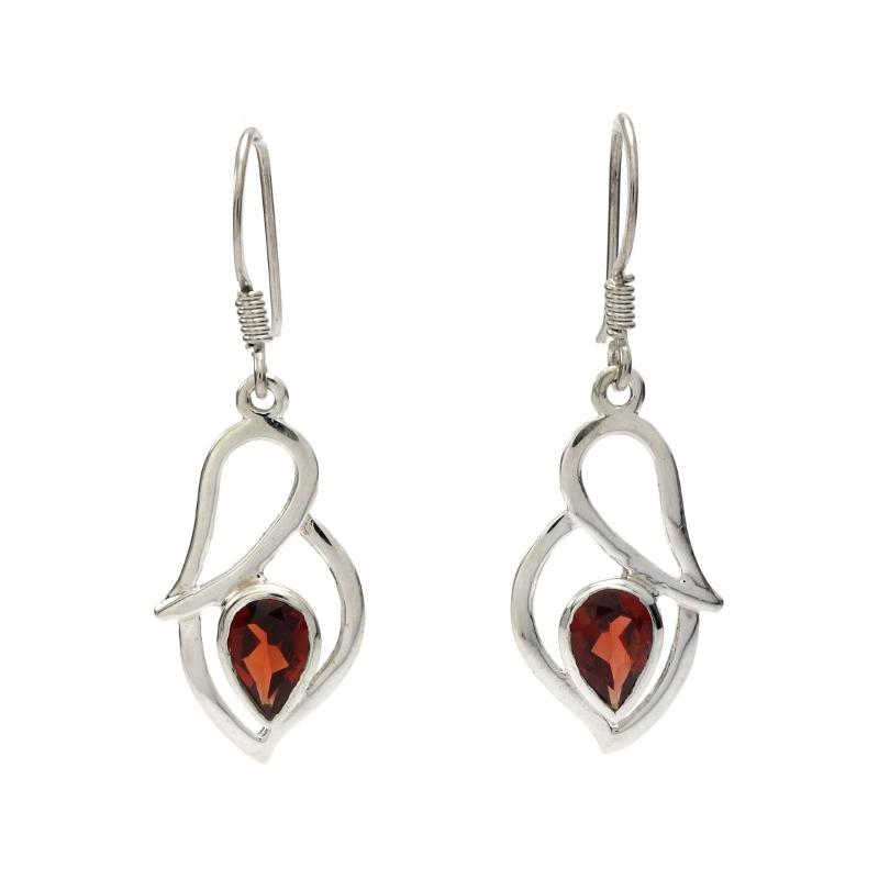 Red garnet silver hanging earrings